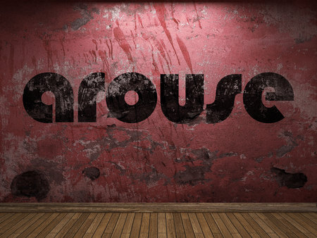 arouse: arouse word on red wall Stock Photo