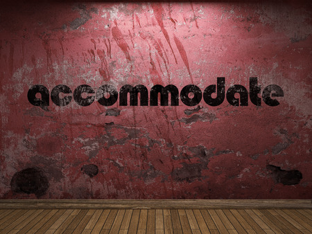 accommodate: accommodate word on red wall Stock Photo