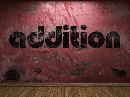 addition: addition word on red wall