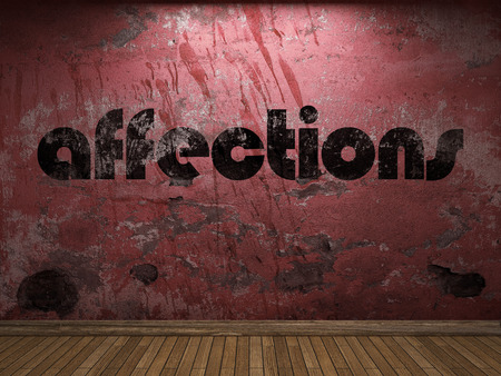 affections: affections word on red wall Stock Photo