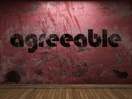 agreeable: agreeable word on red wall Stock Photo