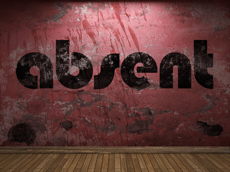 absent: absent word on red wall