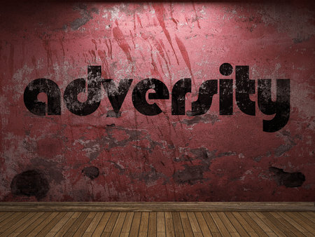 adversity: adversity word on red wall