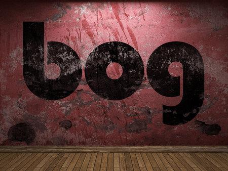 bog: bog word on red wall