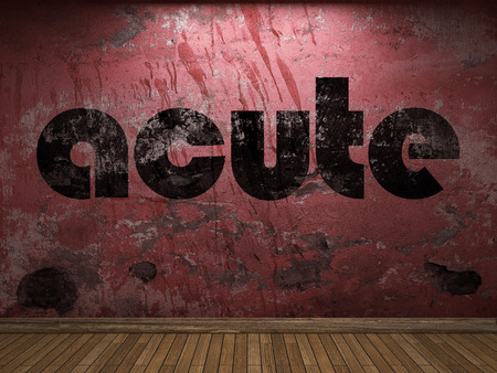 acute: acute word on red wall Stock Photo