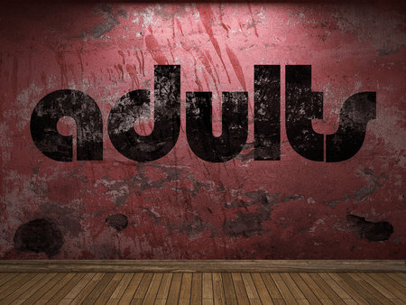 adults: adults word on red wall