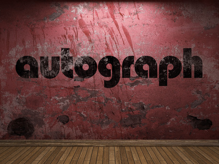 autograph: autograph word on red wall Stock Photo