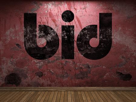 bid: bid word on red wall