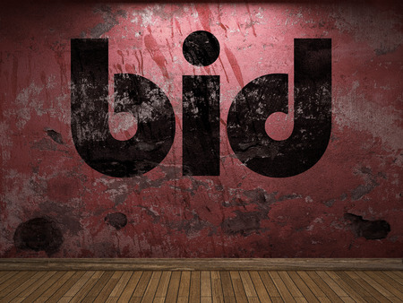 bid: pujar palabra en la pared roja