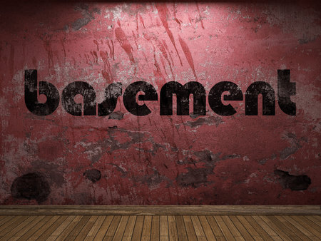 basement word on red wall