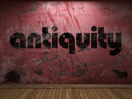 antiquity: antiquity word on red wall