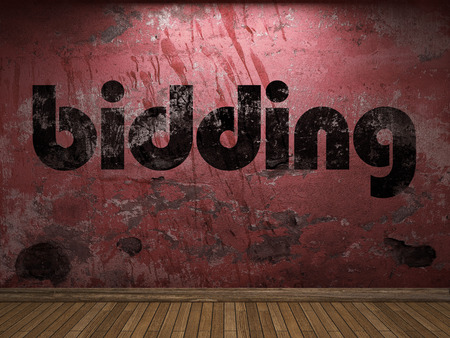 bidding: bidding word on red wall