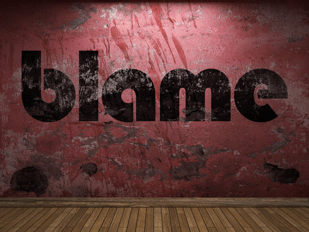 blame: blame word on red wall