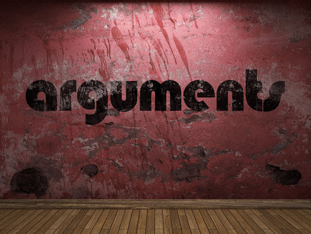 arguments: arguments word on red wall Stock Photo