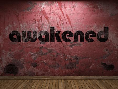 awakened: awakened word on red wall Stock Photo
