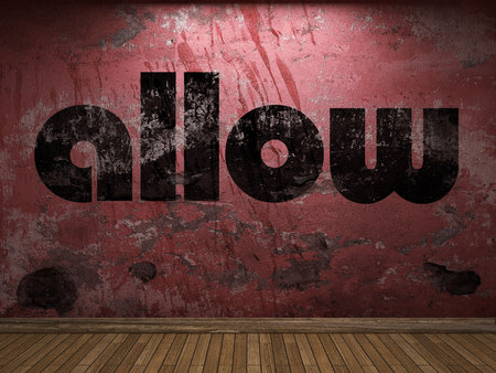 allow: allow word on red wall
