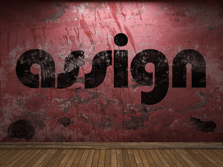 assign: assign word on red wall
