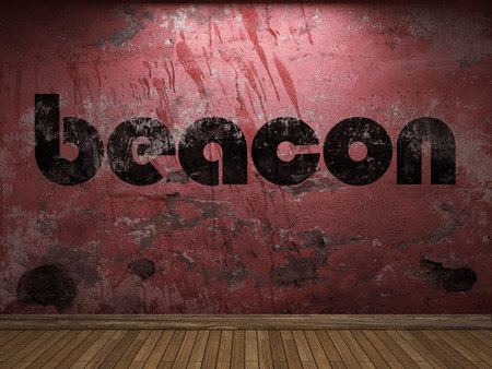beacon: beacon word on red wall