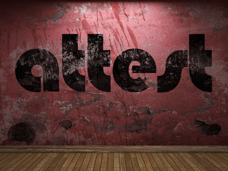 attest: attest word on red wall