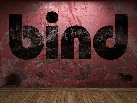 bind: bind word on red wall Stock Photo