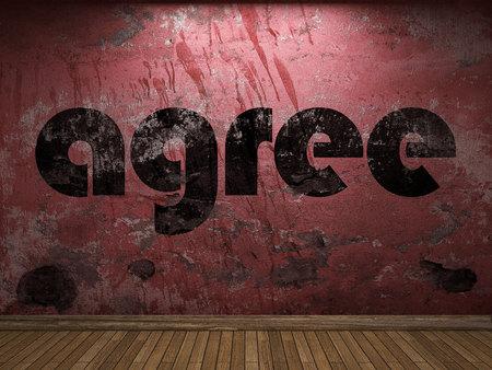 estar de acuerdo: de acuerdo palabra en la pared roja