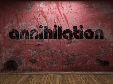 annihilation: annihilation word on red wall Stock Photo
