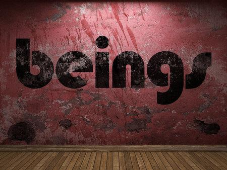 beings: beings word on red wall
