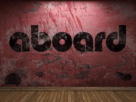 aboard: aboard word on red wall