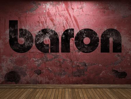 baron: baron word on red wall Stock Photo