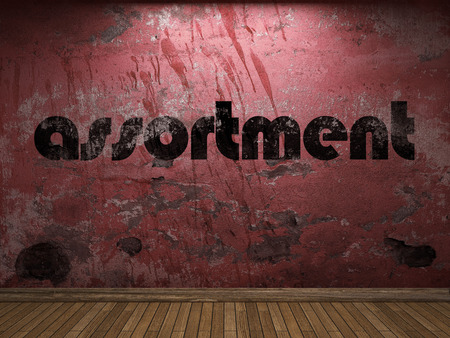 assortment: assortment word on red wall