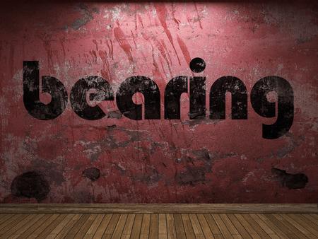 bearing: bearing word on red wall Stock Photo