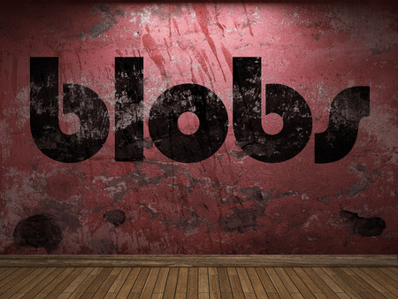 blobs: blobs word on red wall