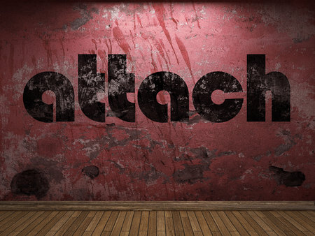 attach: attach word on red wall