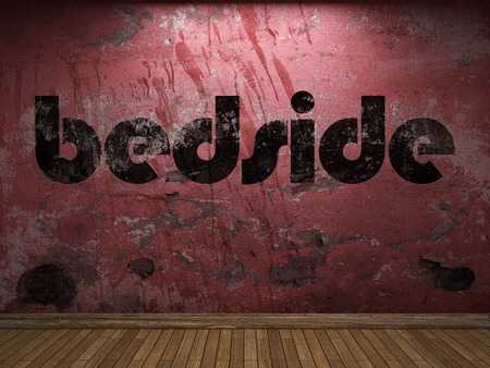 bedside: bedside word on red wall