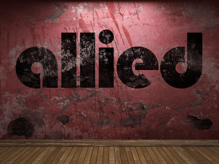 allied: allied word on red wall Stock Photo