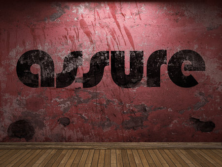 assure: assure word on red wall Stock Photo