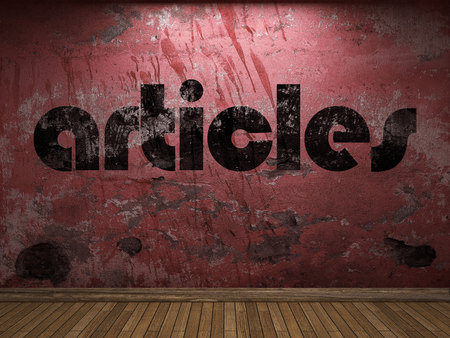 articles: articles word on red wall Stock Photo
