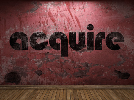 acquire: acquire word on red wall Stock Photo