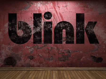 blink: blink word on red wall Stock Photo
