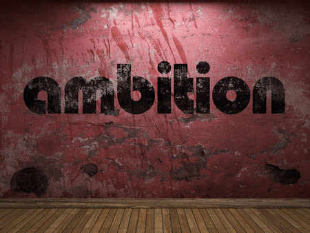 ambition: ambition word on red wall Stock Photo