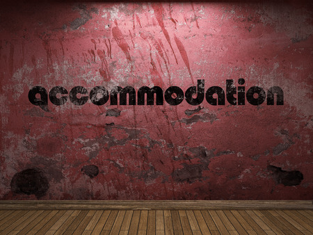 accommodation: accommodation word on red wall Stock Photo
