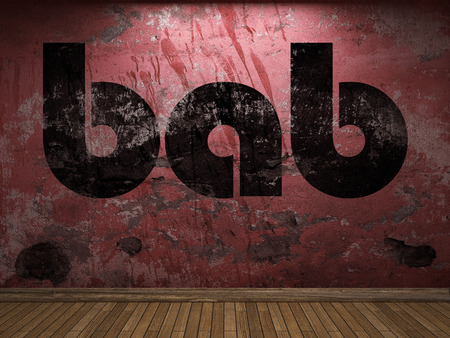 bab: bab word on red wall