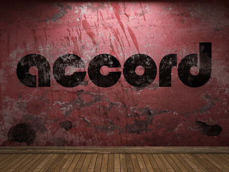 accord: accord word on red wall