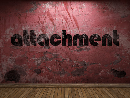 attachment: attachment word on red wall
