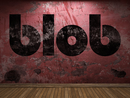 blob: blob word on red wall Stock Photo