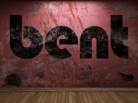 bent: bent word on red wall Stock Photo