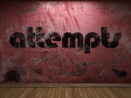 attempts: attempts word on red wall Stock Photo