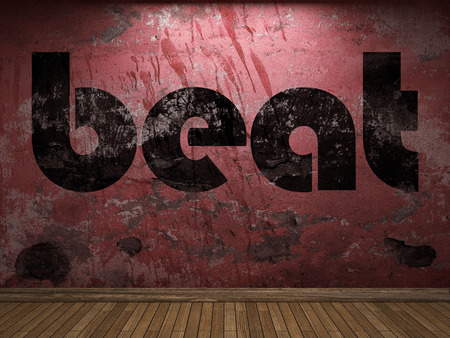beat: beat word on red wall Stock Photo