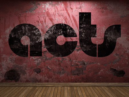 acts: acts word on red wall