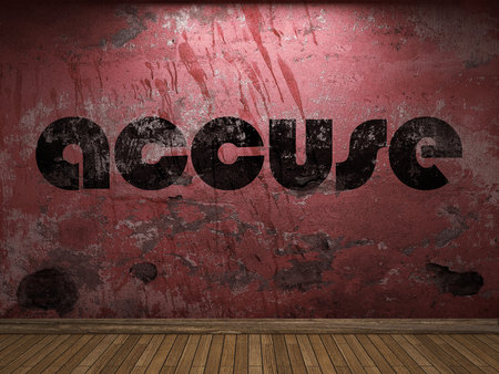 accuse: accuse word on red wall Stock Photo